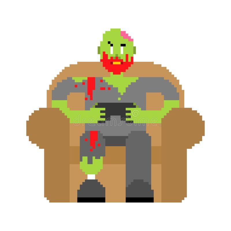 Zombie gamer player video game pixel art. Zombie guy and joystick 8 bit. Dead man sitting on chair playing videogame. Video game royalty free illustration