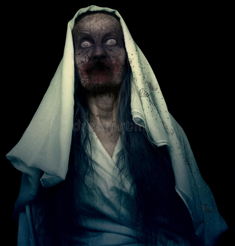 Zombie Ghost Isolated. On Black Background stock photography