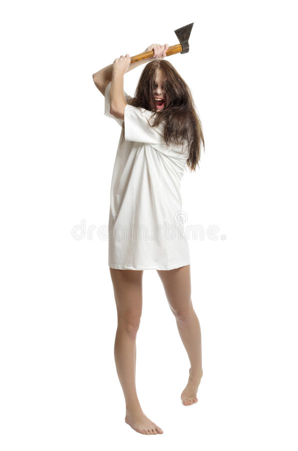 Download Zombie girl with axe stock photo. Image of dark, furious - 26972602