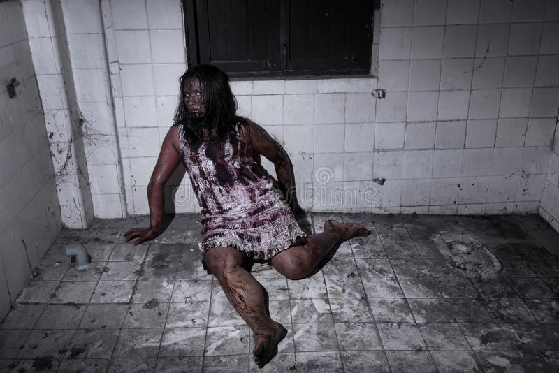 Zombie girl in haunted house. Ghost concept royalty free stock photography