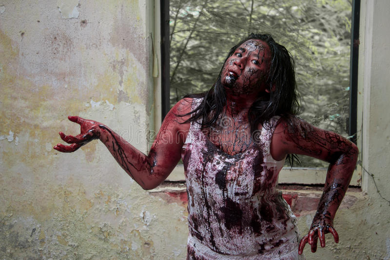 Zombie girl. In haunted house scary royalty free stock images
