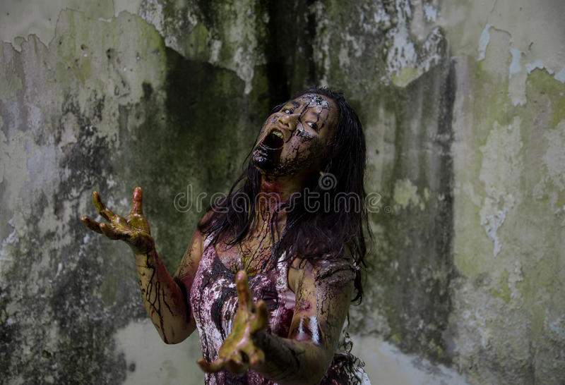 Zombie girl. In haunted house scary royalty free stock photos