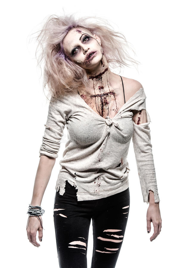 Zombie girl. A scary undead zombie girl royalty free stock photo