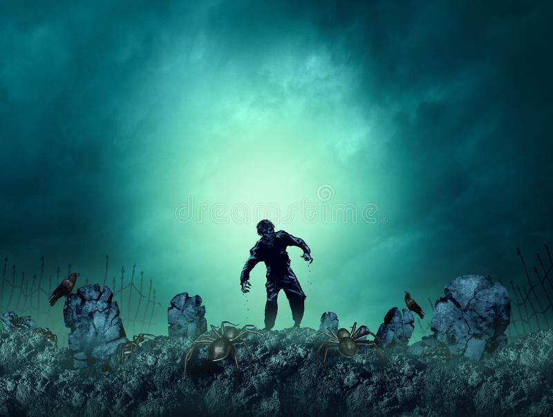 Zombie Grave Halloween Background. As a creepy walking monster in a blank area for text as a spooky dead scary ghost as an autumn holiday greeting with 3D royalty free illustration