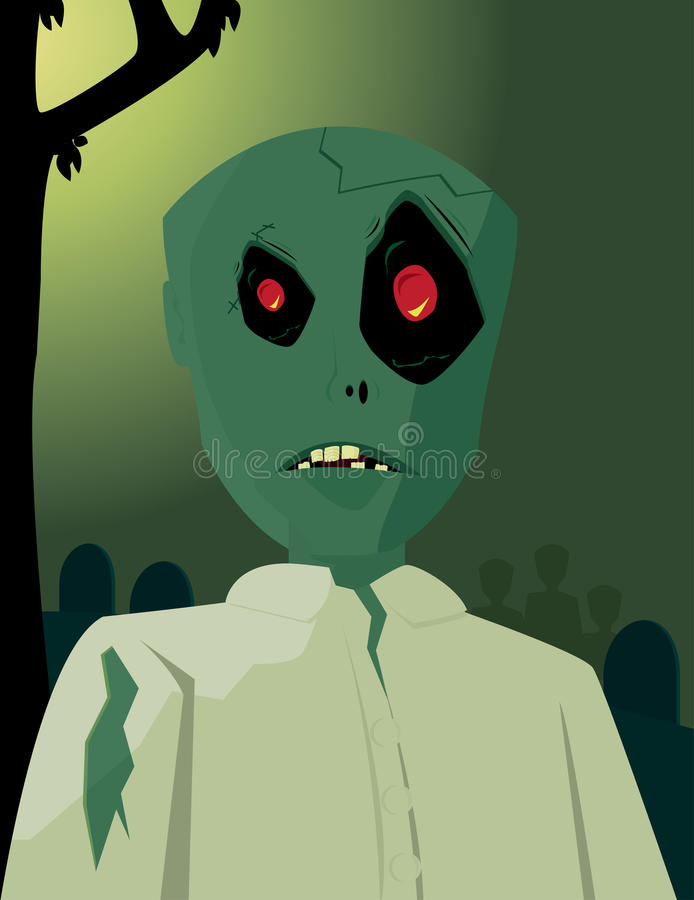 Zombie in graveyard 2. Zombie in white shirt on a green graveyard background stock illustration