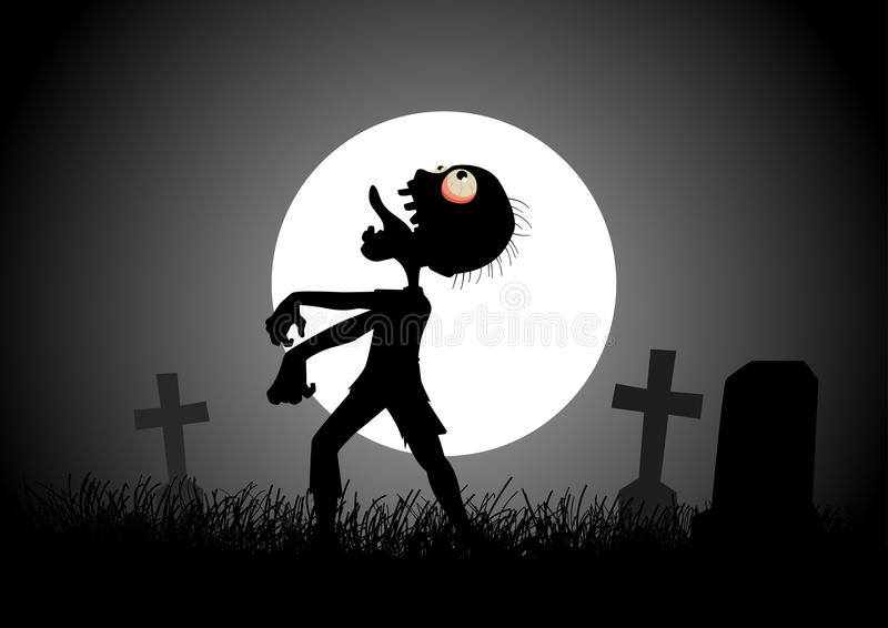 Zombie. Halloween background with zombie, tombstones and the moon on the cemetery