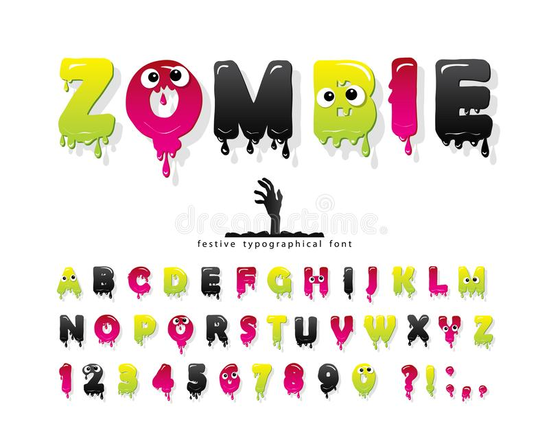 Zombie halloween font. Jelly slim colorful letters and numbers. Creative scary alphabet isolated on white. Vector stock illustration