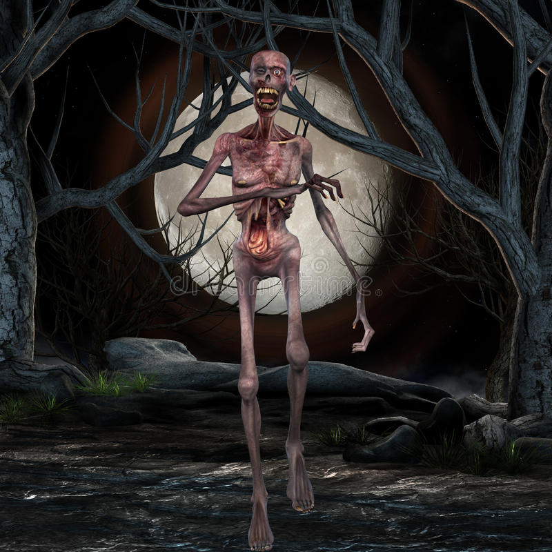 Zombie - Halloween-Szene lizenzfreie abbildung