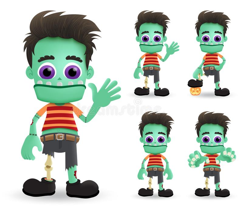 Zombie halloween vector characters set. Scary zombie halloween monster character creature standing. stock illustration