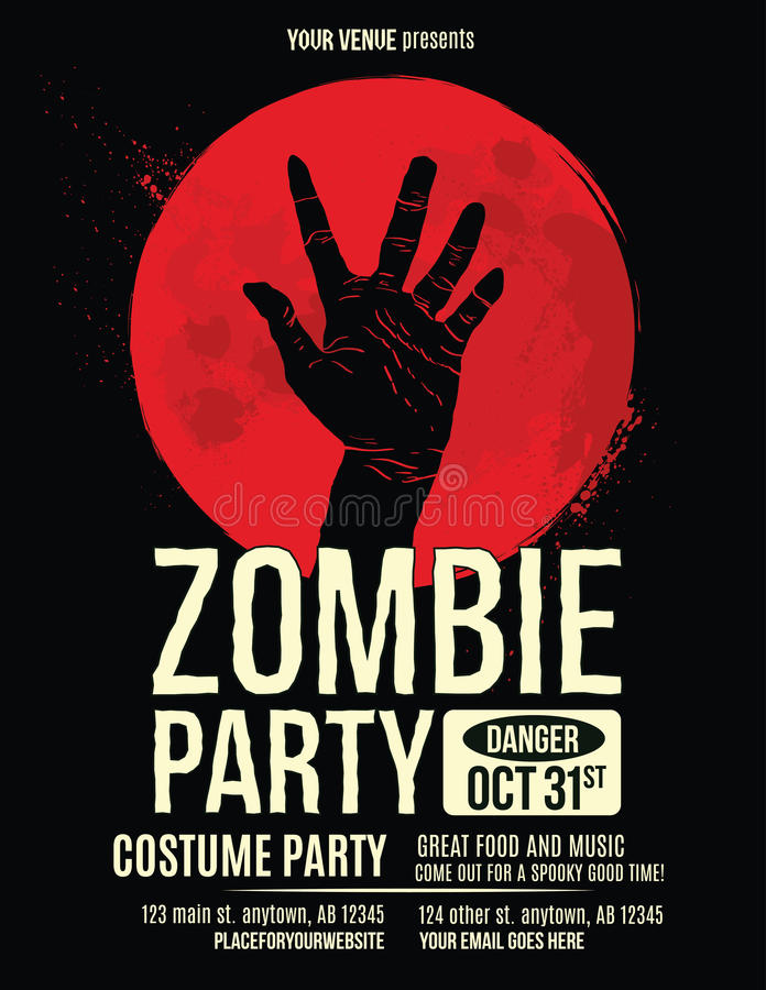 Zombie Hand In Blood Moon Flyer Template Stock Vector  Illustration