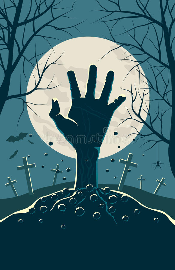 Zombie hand breaking out from under the ground stock illustration