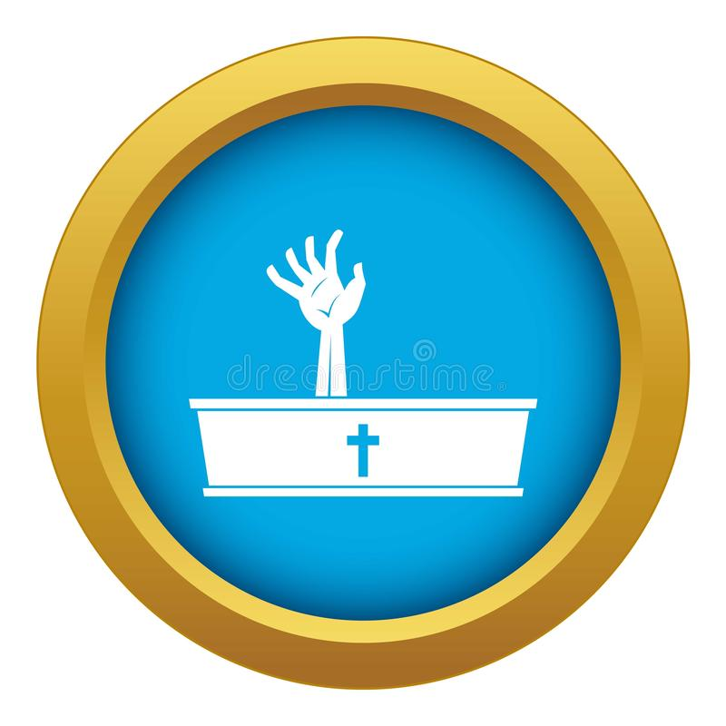 Zombie hand coming out of his coffin icon blue vector isolated stock illustration