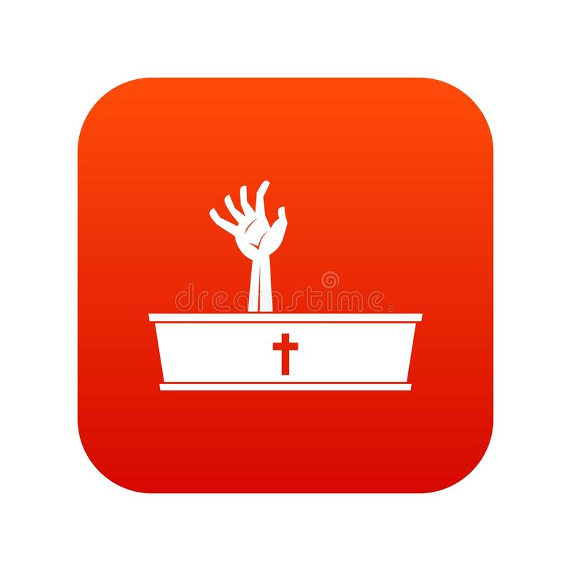 Zombie hand coming out of his coffin icon digital red vector illustration