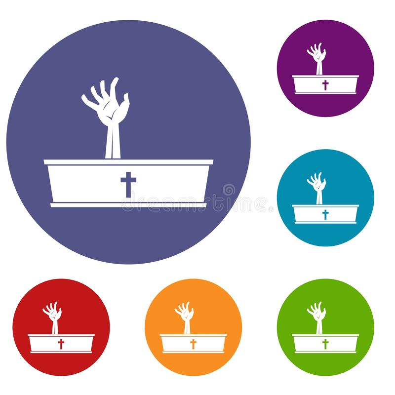 Zombie hand coming out of his coffin icons set royalty free illustration