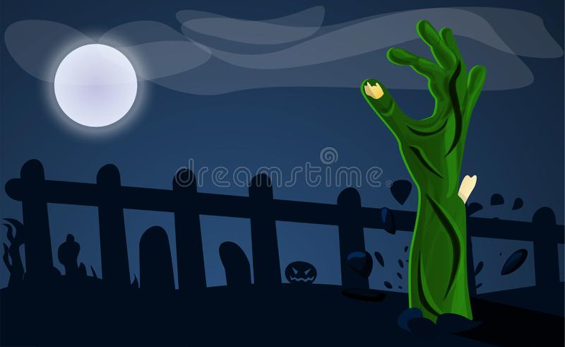 Zombie hand from ground concept background, cartoon style stock illustration