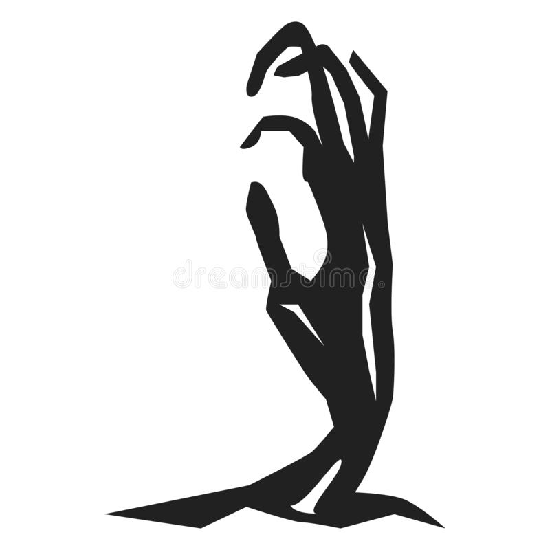 Zombie hand from ground icon, simple style royalty free illustration