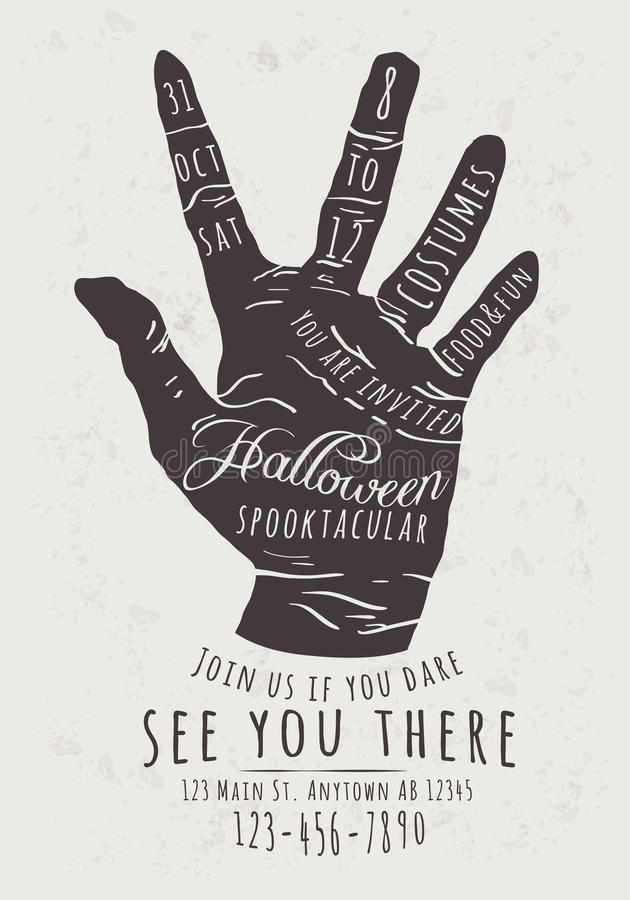 Zombie Hand Halloween Invitation. Vector Halloween Party Invitation with zombie hand background stock illustration