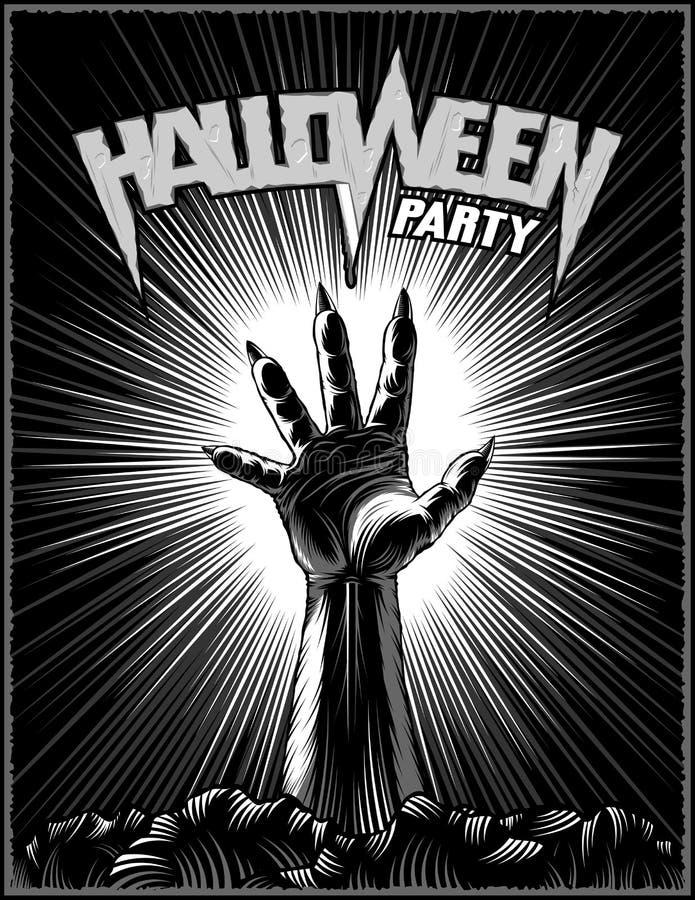 Zombie-Hand-Halloween-Partei-Horror-Druck-Plakat-Weinlese-Strahln-Hintergrund stock abbildung