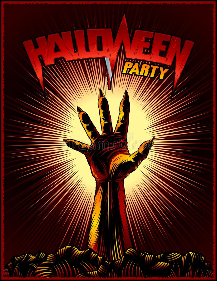 Zombie Hand Halloween Party Vintage Beam Background Horror Print Poster royalty free illustration