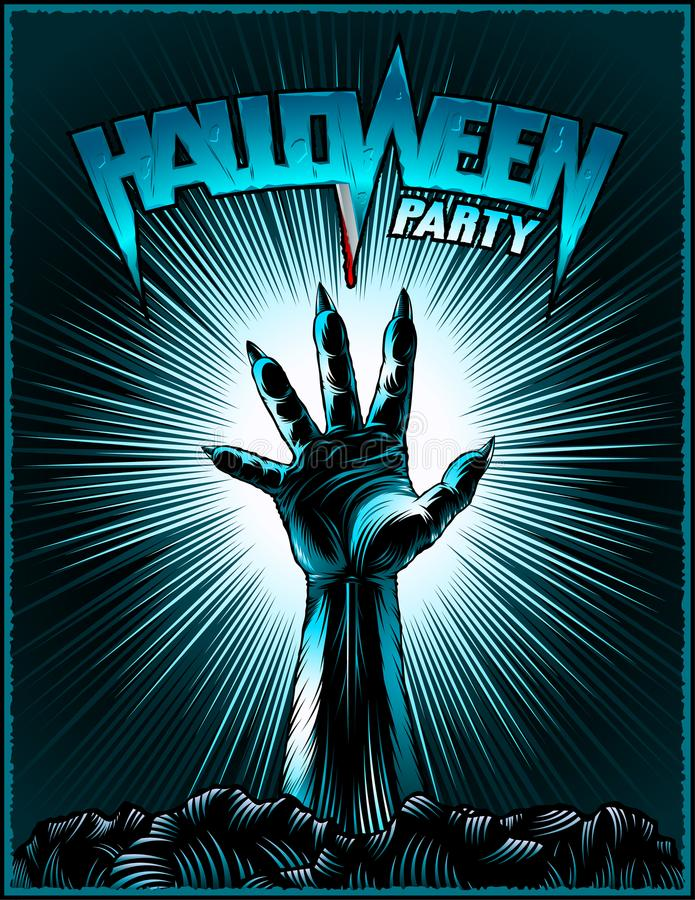 Zombie Hand Halloween Party Vintage Radiant Background Horror Print Poster. Clawed Hand of zombie on radiant background for evil spirits holiday Halloween. Title stock illustration