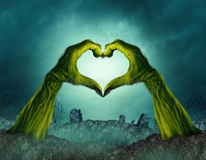 Zombie Hand Heart Shape. In a creepy night graveyard background as a green halloween arms emerging from a cemetary grave or scary symbol in a 3D illustration vector illustration