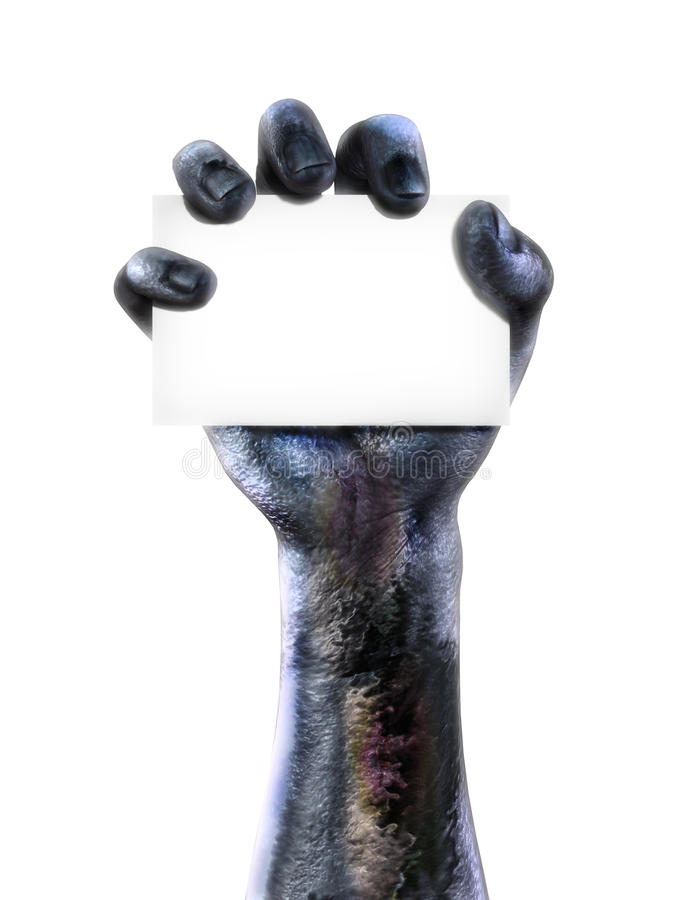 Zombie hand holding a blank card. Room for text or copy space for advertisement on a white background stock photography