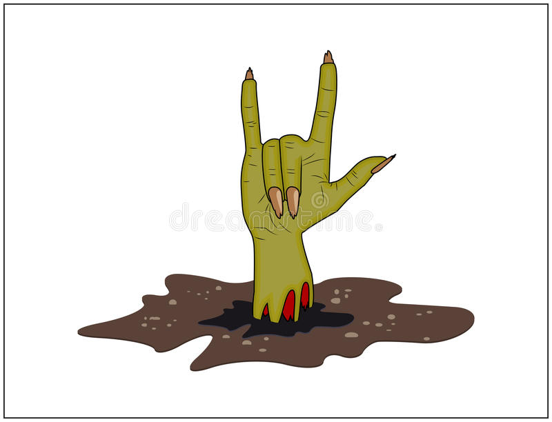 Zombie hand Horns, satan sign out of ground halloween vector. realistic cartoon illustration on white background. royalty free illustration