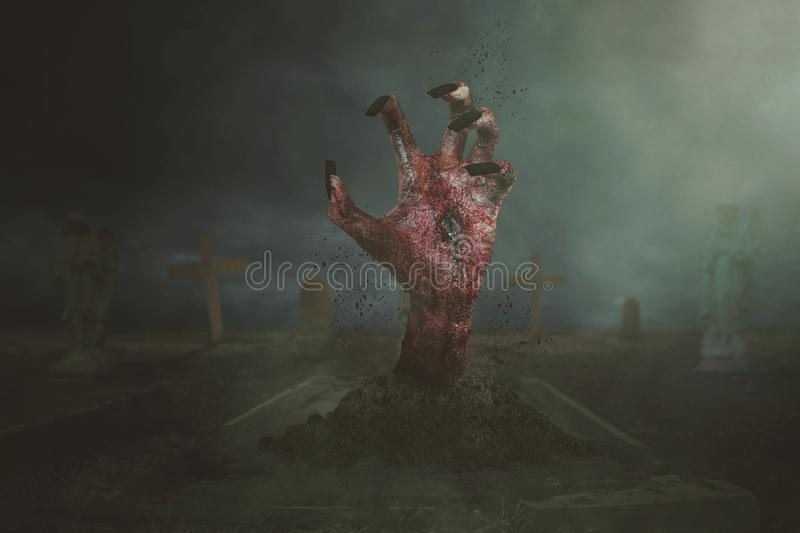 Zombie hands emerged out of the ground royalty free illustration