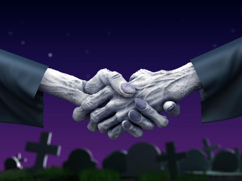 Zombie handshake at cemetery. Fantasy horror 3d illustration vector illustration