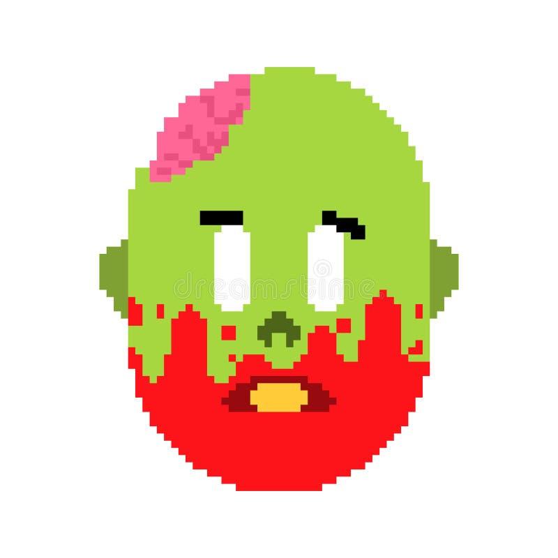 Zombie head pixel art. Face of green dead and brains inside skull 8bit. Video game Old school digital graphics stock illustration