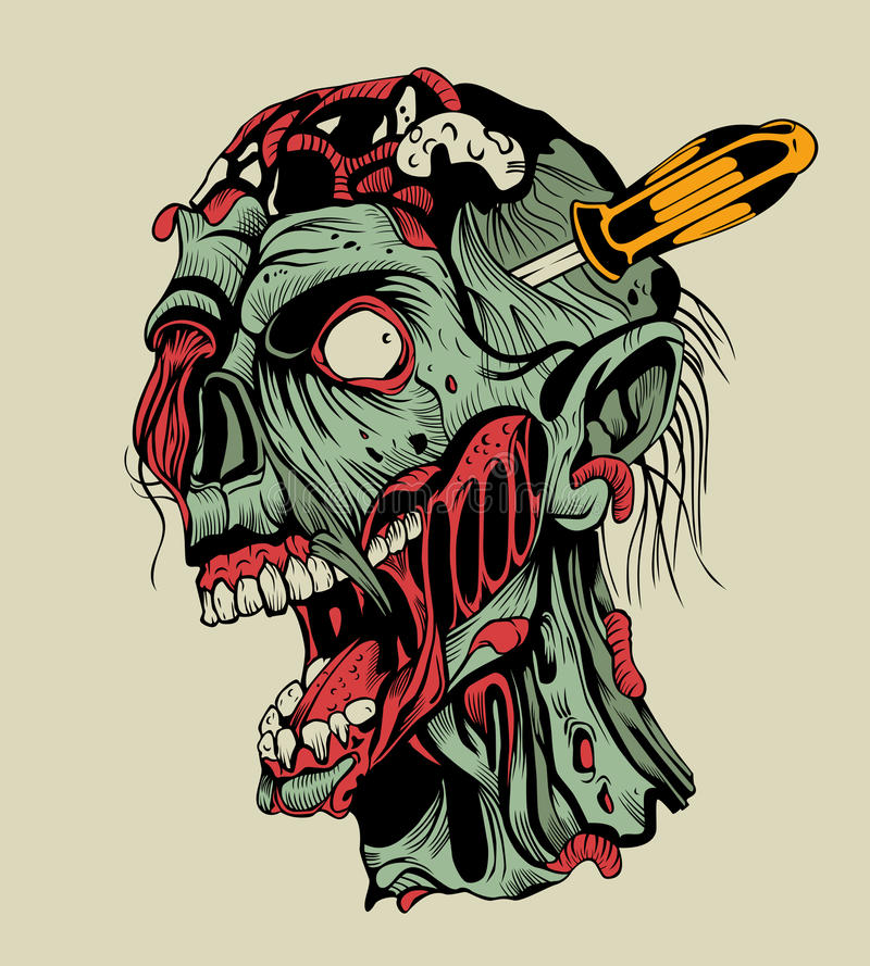 Zombie head with a screwdriver vector illustration