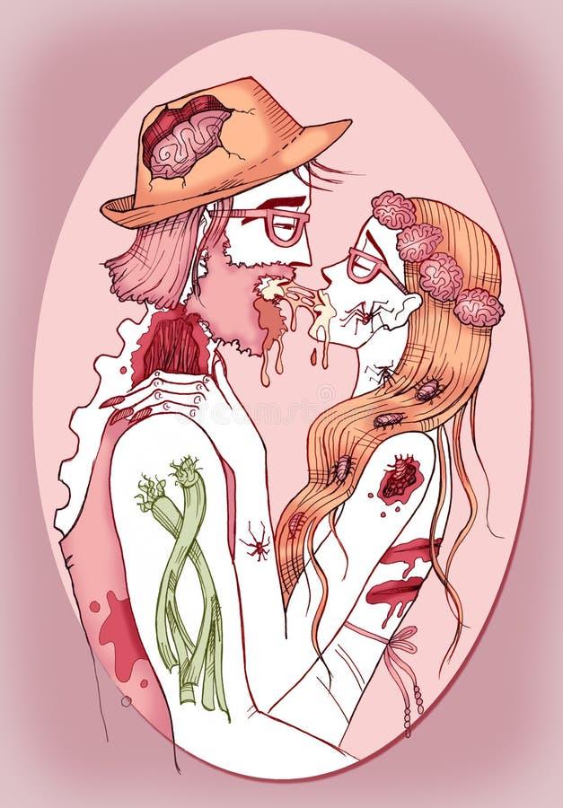 Zombie hipster paar in liefde vector illustratie