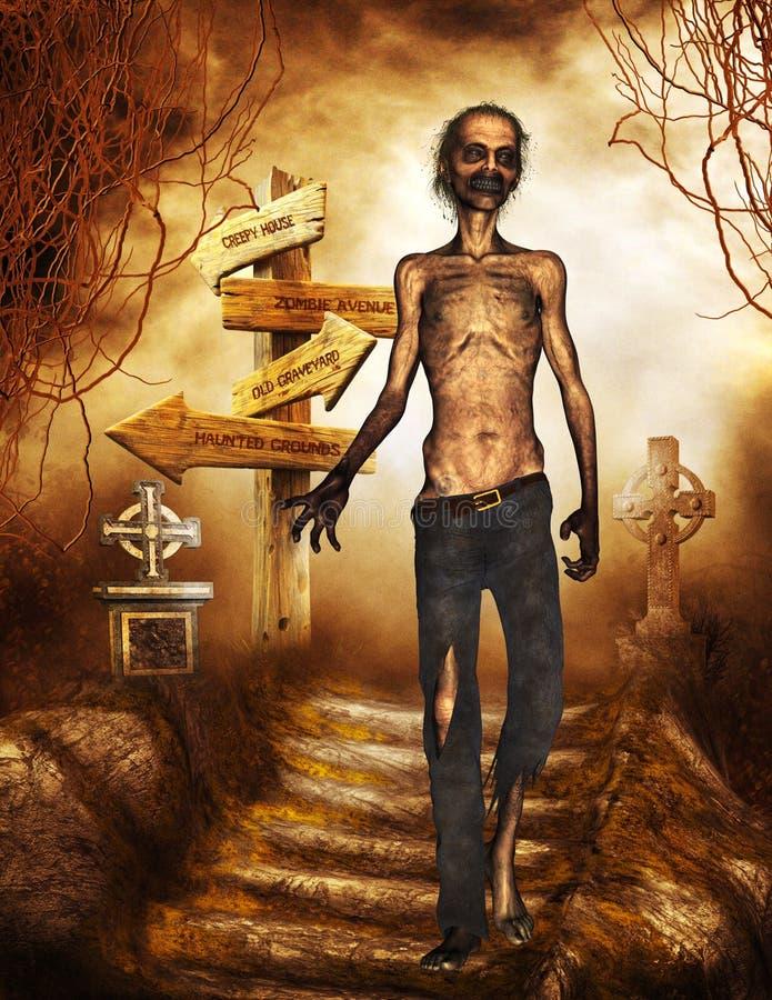 Zombie im Friedhof lizenzfreie abbildung