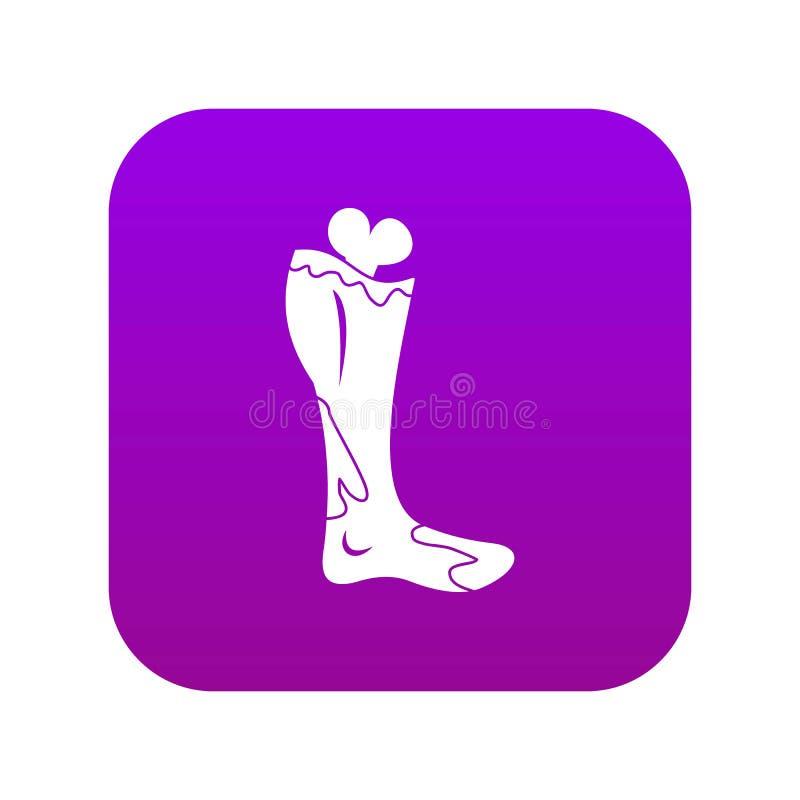 Zombie leg icon digital purple. For any design isolated on white vector illustration stock illustration