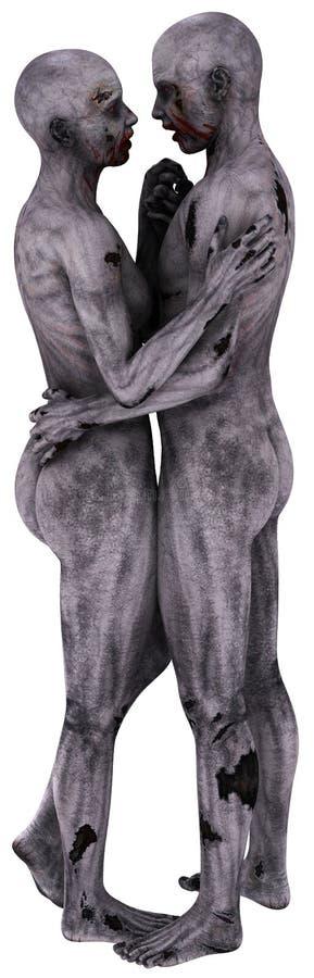 Zombie Love Couple Illustration Isolated stock illustration