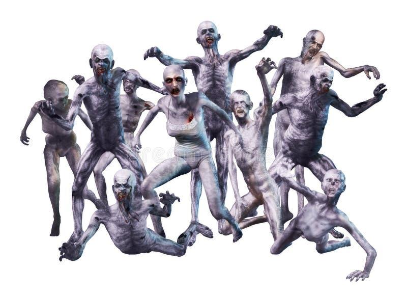 Zombie-Mengen-Angriff stockfotos