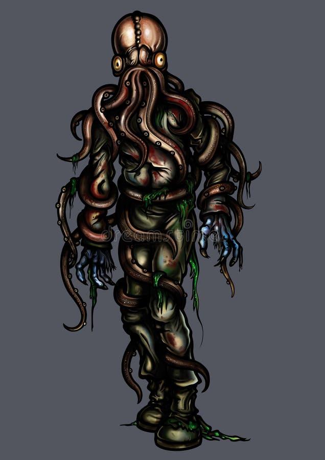 Zombie octopus royalty free illustration