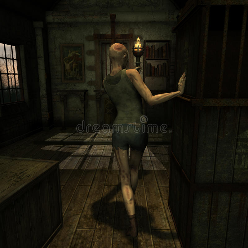 Download Zombie in an old church stock illustration. Image of monster - 28632410
