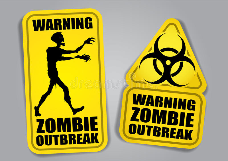 Zombie Outbreak Warning Stickers / Labels vector illustration