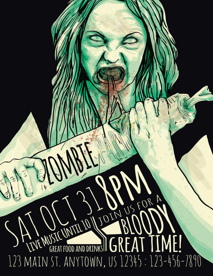 Download Zombie Party Flyer stock vector. Illustration of fantasy - 60260331