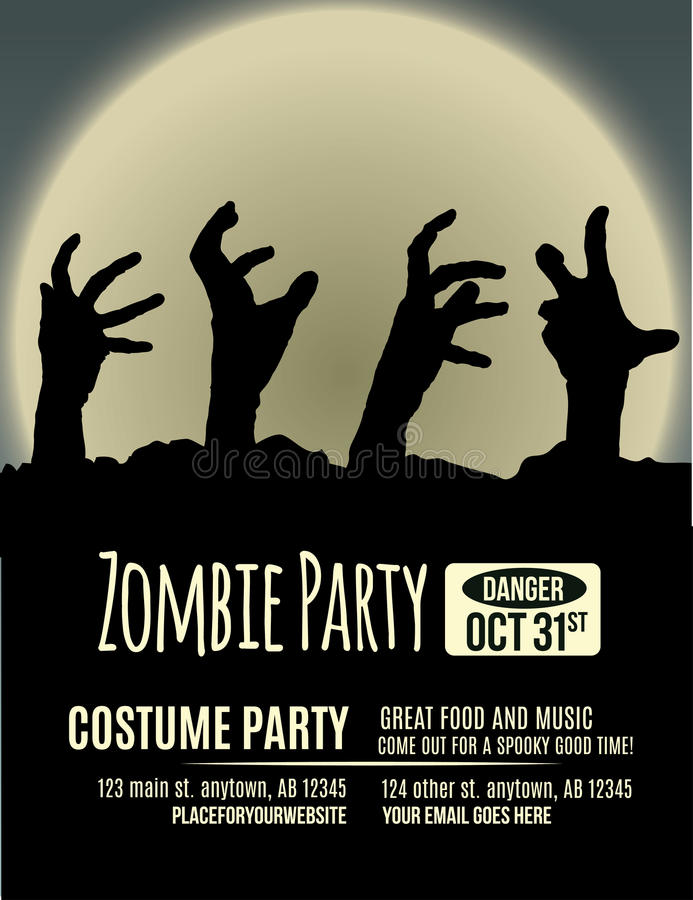 Zombie Party Invitation. Halloween party invitation with zombie hands coming up out of the ground in front of a full moon stock illustration
