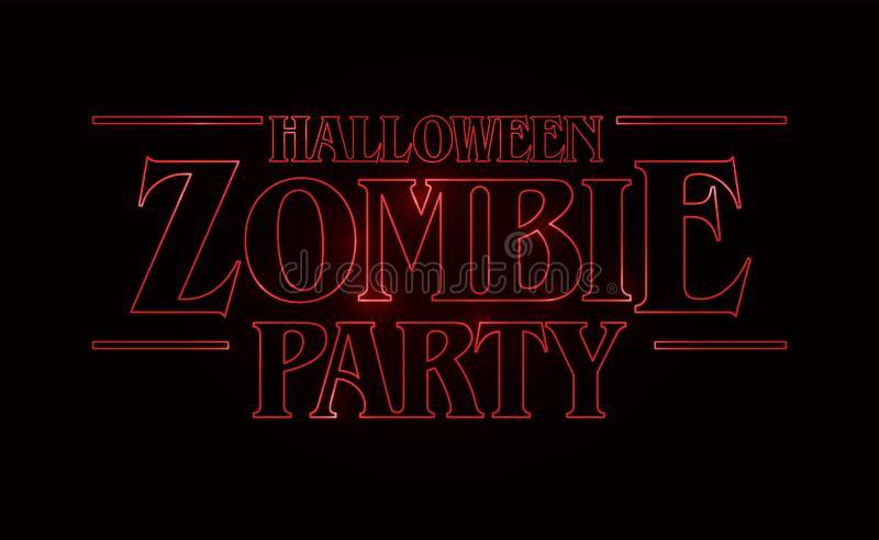 Zombie party text design, Halloween word with Red glow text on black background. 80`s style, eighties design. stock illustration