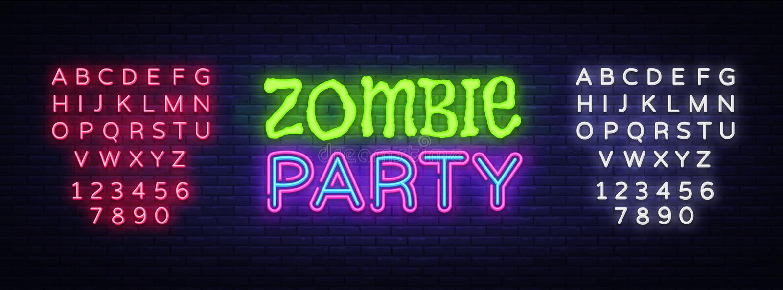 Zombie Party Text Vector. Halloween neon sign, design template, modern trend design, night neon signboard, night bright. Advertising, light banner, light art stock illustration