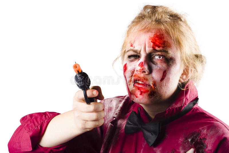 Download Zombie pointing revolver stock photo. Image of dead, jacket - 30926646