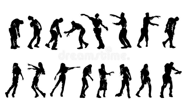 Zombie pungenti messi illustrazione vettoriale