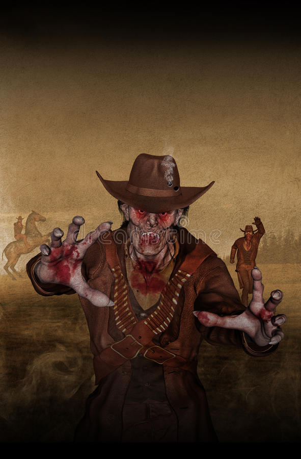 Zombie Sheriff. Runs from cowboys. Bloody hand, bloody eyes, mouth. Cowboy hat with smoking holes. Man on horse. Horror on fantasy land. Creature escape from stock illustration