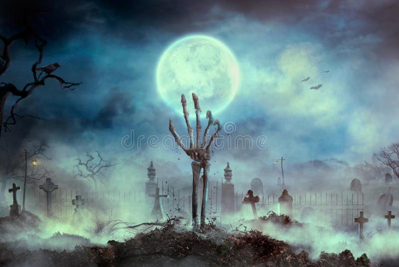 Zombie skeleton hand rise from the grave. Halloween design with zombie graveyard vector illustration