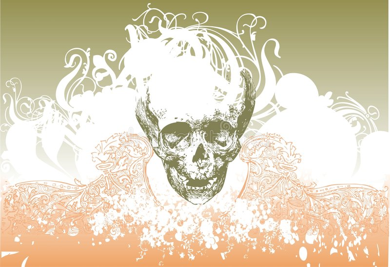 Zombie skull illustration royalty free stock images