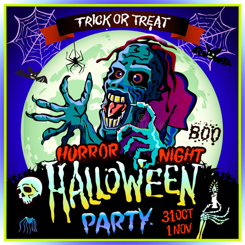 Free Zombie Sneaks Up On The Background Of A Full Moon, Illustration On The Theme Of The Halloween Party. 31 October - 1 November. Royalty Free Stock Image - 78680486