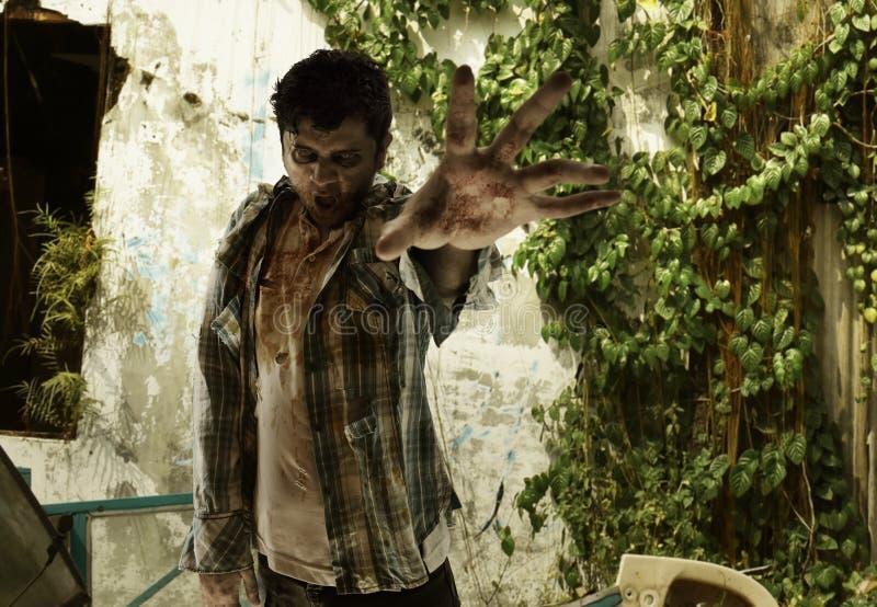 Zombie spaventoso su vecchia costruzione fotografie stock libere da diritti